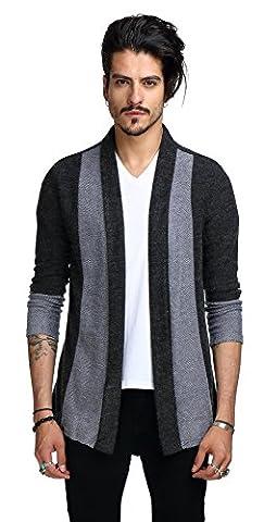 Whatlees Unisex Hip Hop Urban Basic Long Line Basic Cardigan cardigan with contrasting inset shawl lapel