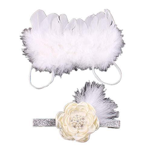 YICANG INS Baby Engelsflügel Stirnband Set Feder Spitze Blumen Neugeborenen Haarschmuck Baby Shower Party Supplies Fotografie Requisiten