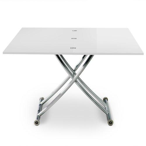 Menzzo B2219S Contemporain Carrera Table Basse Relevable Bois/Inox Laqué Blanc 57/100 x 100/114,2 x 39/76,3 cm