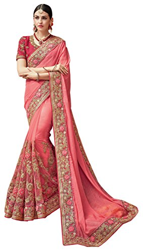 Magneitta Women's Net Saree With Blouse Piece (97037_Pink)