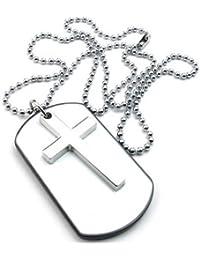 KONOV Joyería Collar con Colgante de hombre mujer, Cruz Dog Tag, Placa Nombre Militar, Cadena 68cm, Aleación, Color blanco plata (con bolsa de regalo)