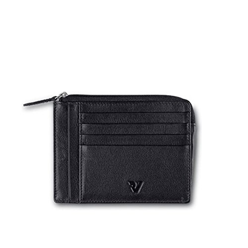 Porta Documenti Piatto Roncato Pelle Uomo Nero Linea Basic Piatto art 669 con Zip