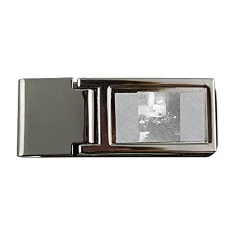 Metal money clip with Louis Bromfield sitting on sofa with dog.