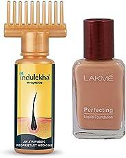 Indulekha Bhringa Hair Oil, 100ml & Lakme Perfecting Liquid Foundation, Pearl, 27ml