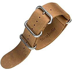 Echtes Leder Militär ZULU Uhrenarmband, Satin Schnalle, Kamel Braun, 24mm