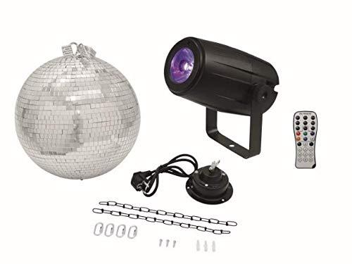 Eurolite Set Spiegelkugel 30 cm mit Motor + LED Pinspot PST-5 QCL schwarz mit 5-Watt-4in1-LED in RGBW