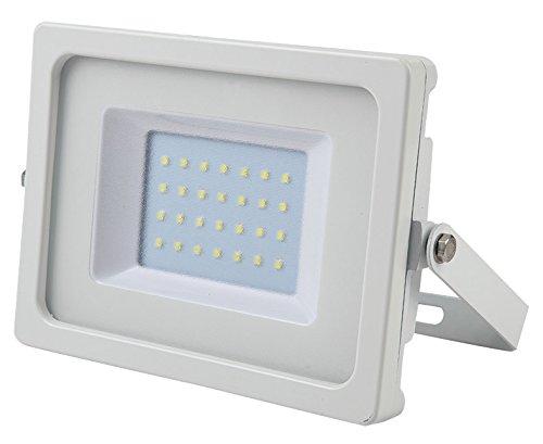 V-TAC vt-4933 30 W LED à + Blanc Projecteur – Projecteur à LED, blanc chaud, IP65, couleur : blanc, Aluminium, ce, EMC)