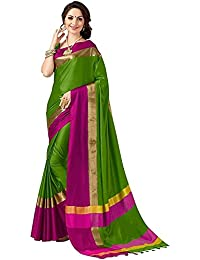 Harikrishnavilla Women's Clothing Saree Collection In Green-Coloured Cotton Silk Material For Women Party Wear...