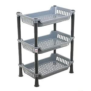 Fun Homes Plastic 3 Layer Multi-Purpose Kitchen Storage Basket Rack (Grey)-FUNHH07