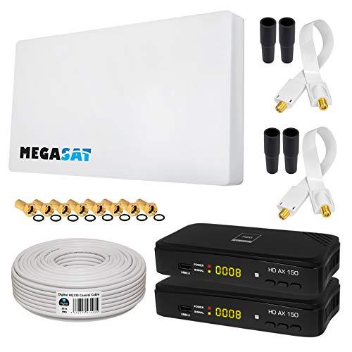 HB-DIGITAL SAT Set Megasat Sat-Flachantenne + H30D2 TFA 60-Twin 2 Teilnehmer + 2X SAT-Recever + Halterung + 20m Kabel + 2X Fensterdurchführung + 8X F-Stecker + 4X Gummitüllen + 2X HDMI Kabel