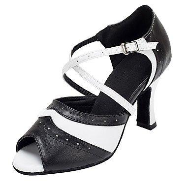 Women's Latin Leder Sandale Innen angepasste Ferse Schwarz/Weiß