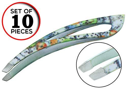 Pincette à sourcils - plumeuse - pince à épiler - extension de cils - Pincette colorée - 9.3 cm - Set de 10 pcs - Acier inoxydable de