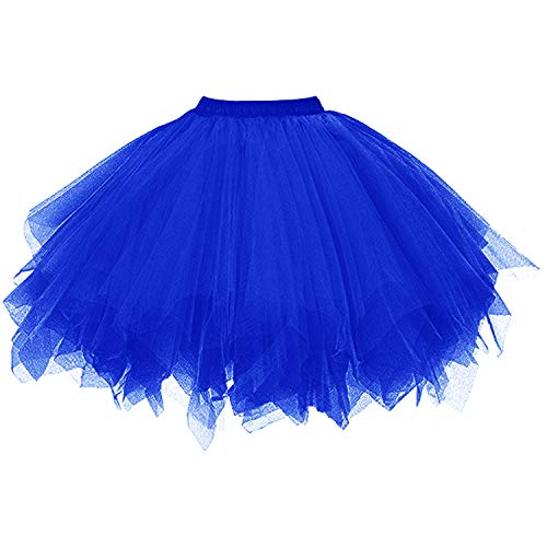 DresseverBrand Damen Petticoat 50er Rockabilly Jahre Retro Tutu Ballet Tüllrock Cosplay Crinoline Königsblau Small/Medium (Damen Rock Tutu)