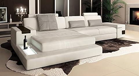 Ledersofa Couch Ecksofa weiß / grau Eckcouch L-Form Wohnlandschaft Ledercouch mit LED-Licht Beleuchtung Designsofa LATIUM