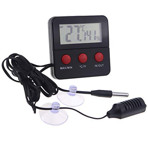 Termometro e igrometro digitale per terrario di rettili, con sondetelecomandate,ideale per terrari con rettili, terrari, vivai, incubatrici, incubatori