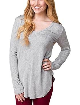 Le Donne Lo Scollo A V Collo A Maniche Lunghe Curve Sopra T - Shirt Camicetta.
