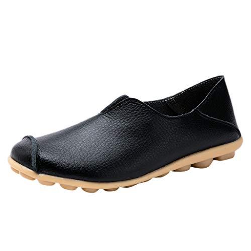 LHWY Sandalen Damen Sommer Frauen Runde Kappe Volltonfarbe Slip-On Weiche Schuhe Flache Schuhe Erbsen Bootsschuhe Bequem Rutschfest Große Damenschuhe