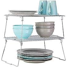 mDesign Juego de 2 estantes apilables para almacenaje de cocina – Repisa  metálica de cocina con 713a984a0f96