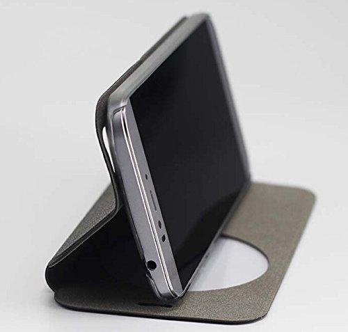 Prevoa ® 丨Flip PU S - View Hülle Cover Case Schutzhülle Tasche für UMI IRON Pro Eyeprint ID 4G 5.5 Zoll Smartphone - (Schwarz)