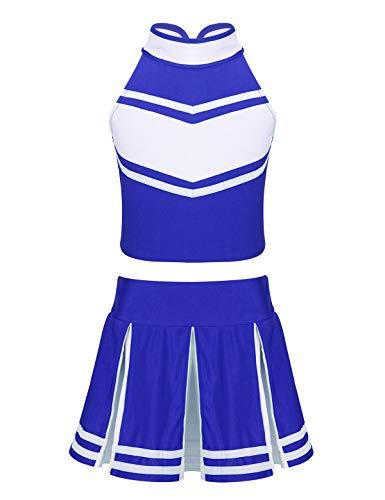 Cheerleading Kostüm - YOOJIA Kinderkostüm Cheer Mädchen Outfit Cheerleading Kostüm Crop Top Rock Kleidung Set Festlich Dancewear für Karneval Fasching Cosplay Bekleidungsset Blau & Weiss 140/10Jahre