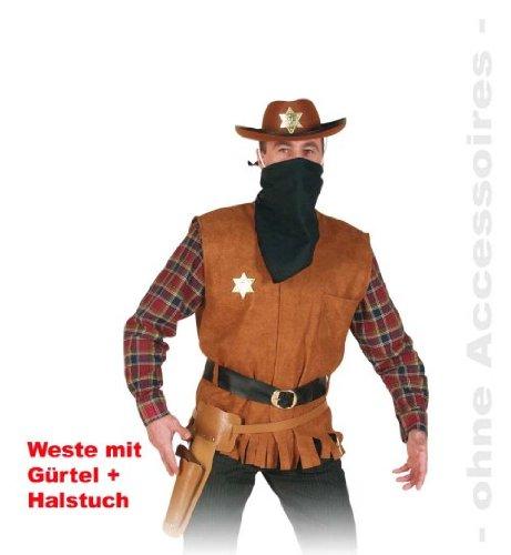 Preisvergleich Produktbild Weste Arizona Joe L Western Sherif Cowboy Weste mit Gürtel und Halstuch Gr L + XXK