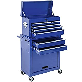 TecTake Tool cabinet cart workshop trolley on wheels   Removable, mobile case   -different colours- (Blue   Nr. 402804)