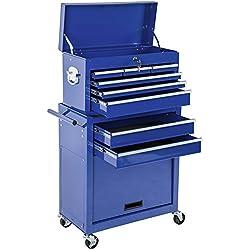 TecTake Chariot d'atelier servante à outils | caisse à outils amovible | -diverses couleurs au choix- (Bleu | Nr. 402804)