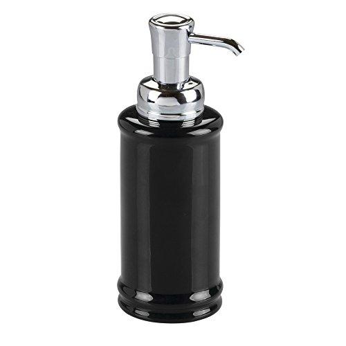iDesign 71057EU Hamilton Seifenspender für Küche oder Bad, 9 cm Durchmesser x 20,25 cm, schwarz/chromfarben, keramik (Gläser Apothecary Set)