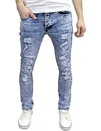 Eto Mens Designer Branded Shredded Ripped Slim Fit Stretch Distressed Jeans