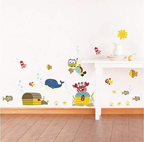 hfwh Wandaufkleber Cartoon Marine Tiere Umweltfreundlich Vinyl Für Schlafzimmer Badezimmer Kinder Zimmer Abnehmbare Kunst Aufkleber Wandbild Home Decor 30x90cmx2pcs Infinity Marine