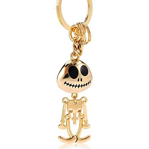 CKH Schöne Skeleton Mann Und Frau Auto Schlüsselanhänger Ring Kreative Anhänger Tasche Schultasche Rucksack Anhänger Gold (Männer Skeleton Ringe)