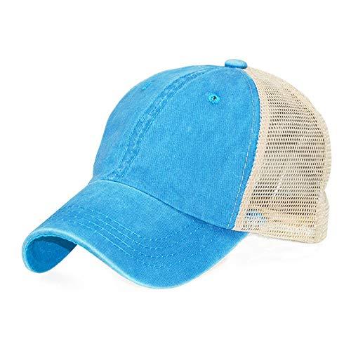 mlpnko Distressed gewaschener Baumwolle einfarbig leichte Platte Mesh Cap Baseball Cap blau und weiß einstellbar