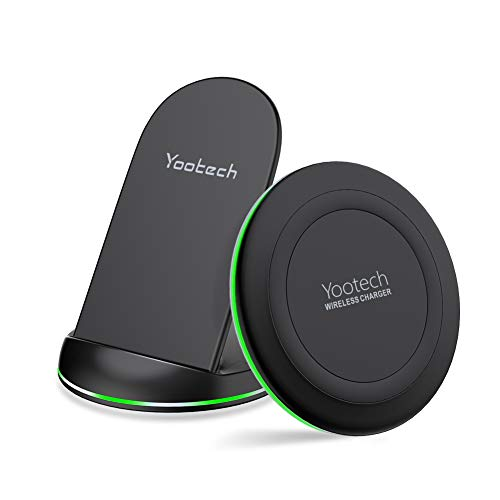 YOOTECH Wireless Charger,2-Pack 10W Max Qi Wireless Ladestation Induktive Ladegerät für iPhone 11/11 Pro/11 Pro Max/XS Max/XR/XS/X/8/8 Plus,Galaxy S10+/S10/S9/S9 Plus/Note 10/Note 9,AirPods Pro usw.