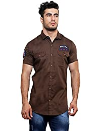 Villain Men's Cargo/Casual Shirt - Slim Fit Button Down Shirt With Double Pocket - Brown