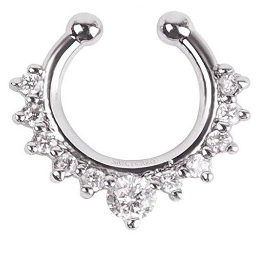 Nasenpiercing, 1Stück, für Damen Mädchen, für Nasenscheidewand, mit Klickverschluss, Ringförmig, Fake-Piercing, Nasen-Ring mit einreihiger Strassverzierung für Frauen Mädchen Teenager Silber