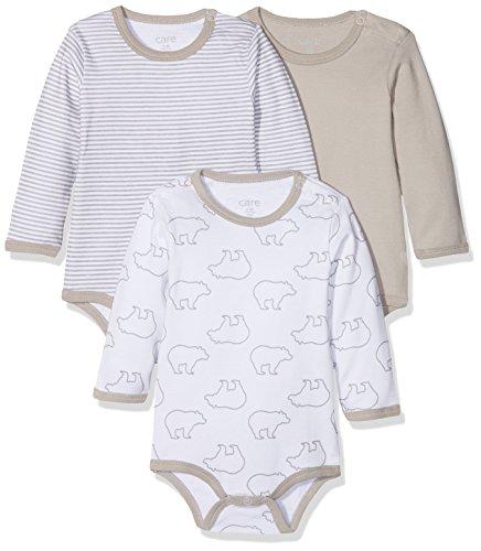 Care Unisex Baby Body 550132, 3er Pack, Gr. 56, Grau (Paloma 164)
