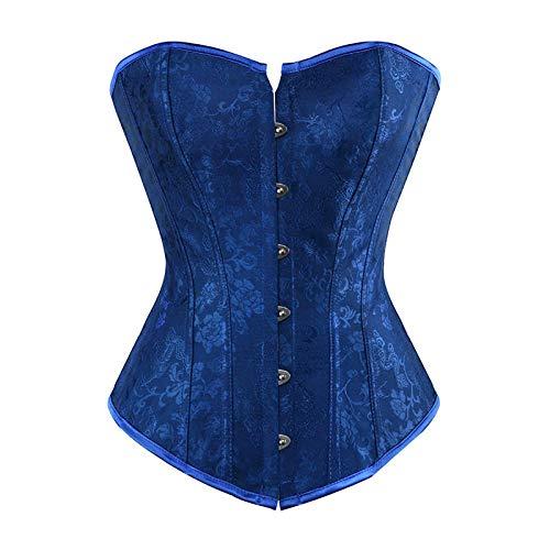 Blau Kostüm Korsett - DHDHWL Corset Damen Sexy,Brokat Jacquard Korsett Bustiers Blumenkorsett Kostüm Blau @Blue_S