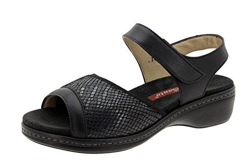 Chaussure femme confort en cuir Piesanto 6816 sandale semelle amovible chaussure confortables amples Noir