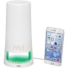 Radio reloj despertador digital AEG radio despertador con luz de lectura lámpara función radio despertador MRC 4147 L blanco