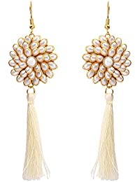 Sanjog Off White Flourish Stone Tassel Elegant Earring for Women Girls