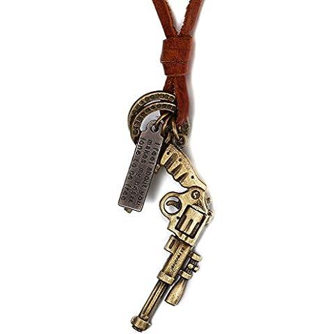 Mens Fashion Jewelry-Ciondolo da donna a croce, in ottone, stile Vintage, con ciondolo a forma di anello, Revolver, cinturino in pelle - 14k Anello In Ottone
