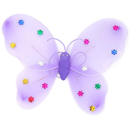 Dress Fancy Kostüme Schmetterling Lila (Jaminy 3pcs/Set Girls LED Licht Fairy Schmetterling Flügel Wand Kostüm Toy)