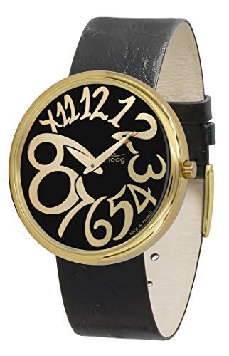 Moog Paris Ronde Art-Deco Women's Watch with Black Dial, Black Strap in Genuine Leather - M41671-E33