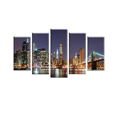 lianle5pcs-set-tableau-peinture-huile-toile-art-pont-de-brooklyn-paysage-sans-chssis-sans-cadre