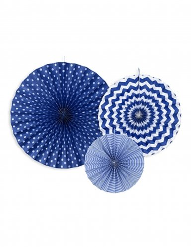 Generique - 3 Rosaces en Papier Bleu Marine