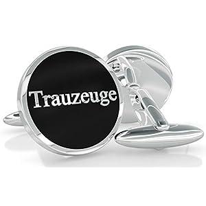 Manschettenknöpfe als Trauzeugen Geschenk für Ihre Hochzeit – in stilvoller Samtbox – rund – silber – edel