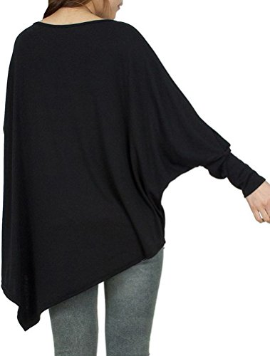 Voguees Women's Oversized Batwing Long Sleeve Pullover Basic Shirt Style-2 Noir