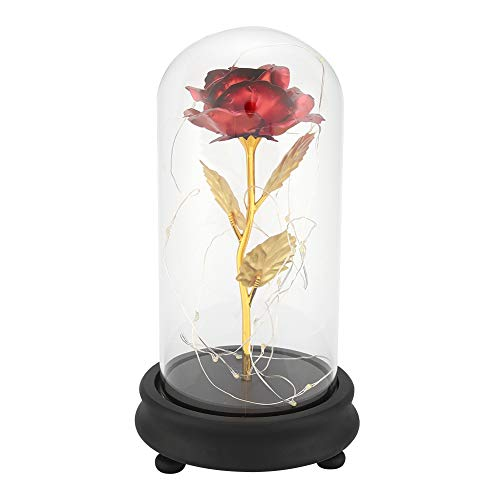 ower 24k Gold überzogene Rose Flower LED-Licht mit Glasabdeckung Basis Valentines'Day Hochzeitsgeschenk(Rot) ()