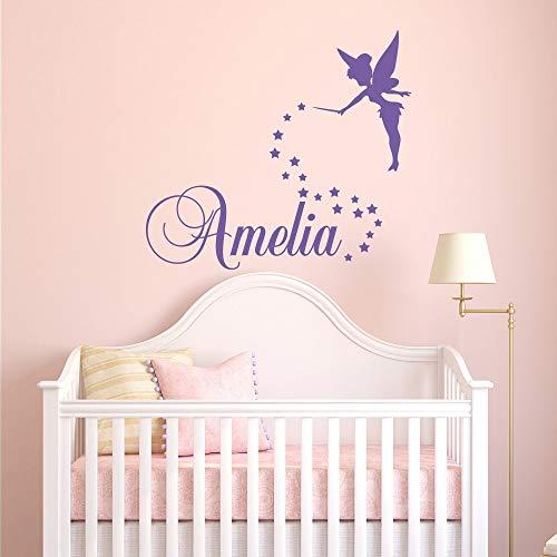 Personalisierte Name Mädchen Name Schlafzimmer Wandaufkleber Für Kinderzimmer Benutzerdefinierte Namen Tinkerbell Kinderzimmer Dekor S57 * 65 cm ()