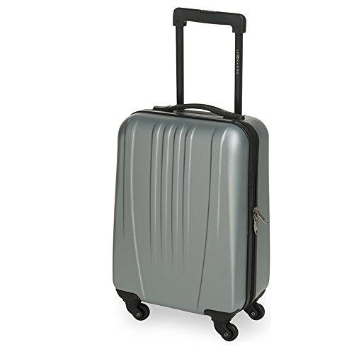 JEMIDI Handgepäck Trolley Boardcase Reise Koffer Hartschale Cabin Bordgepäck Trolly Bag (Modell Boston Silber)